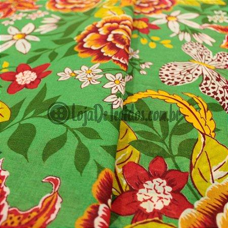 Chita Estampada Floral Verde e Laranja 1,50m de Largura