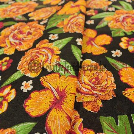 Chita Estampada Floral Preto e Amarelo Ouro 1,50m de Largura