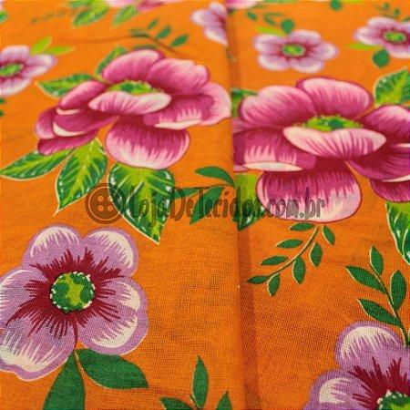 Chita Estampada Laranja Flores Rosas 1,50m de Largura