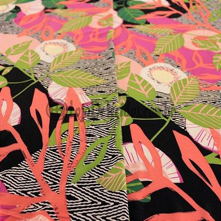 Crepe Salina Estampado Floral 1,50m de Largura
