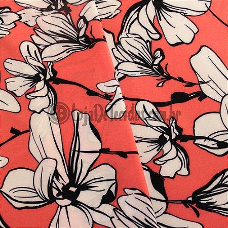 Crepe Salina Estampado Floral Rosa e Branco 1,50m de Largura