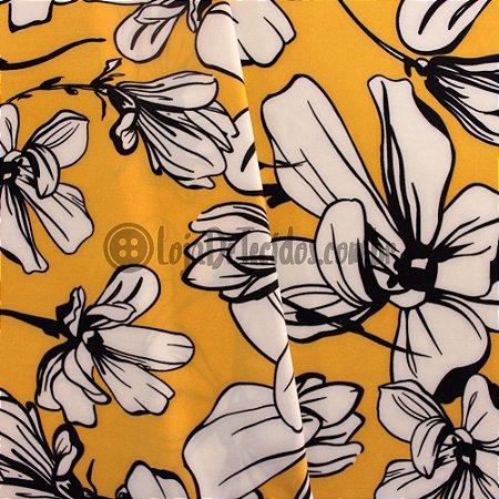 Crepe Salina Estampado Floral Amarelo 1,50m de Largura