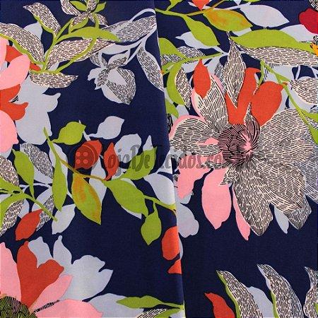 Crepe Salina Estampado Floral Azul Marinho 1,50m de Largura