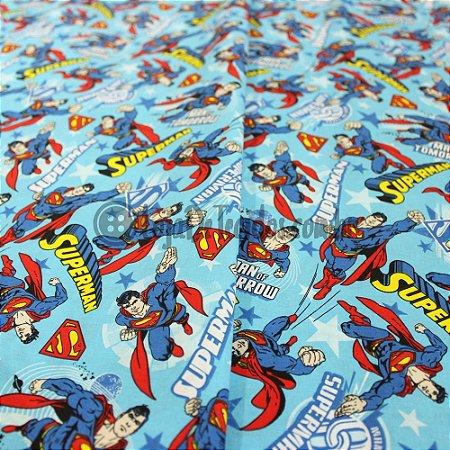 Tricoline Estampado Desenho Superman Fundo Azul