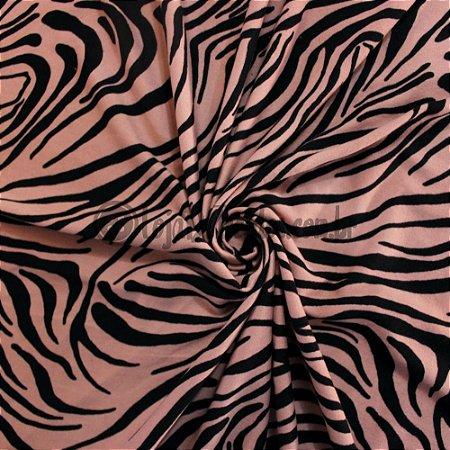 Suede Estampado Zebra Rosa