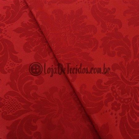 Jacquard Estampado Medalhão Vermelho 2,80mt de Largura