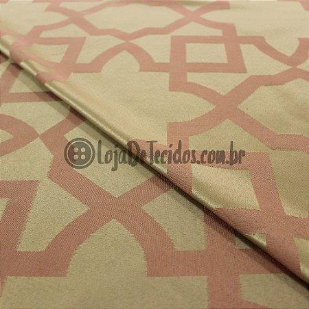 Jacquard Estampado Geométrico Rosé 2,80mt de Largura
