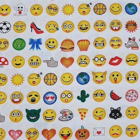 Tricoline Estampado Tema Emoji