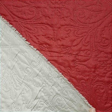 Tecido Matelado Liso Bege/Vermelho 2,40mt de Largura