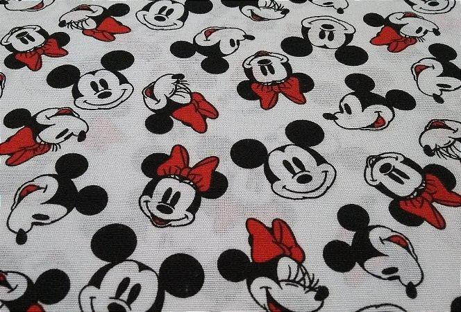Tricoline Licenciado Tema Minnie e Mickey 1,50mt de Largura
