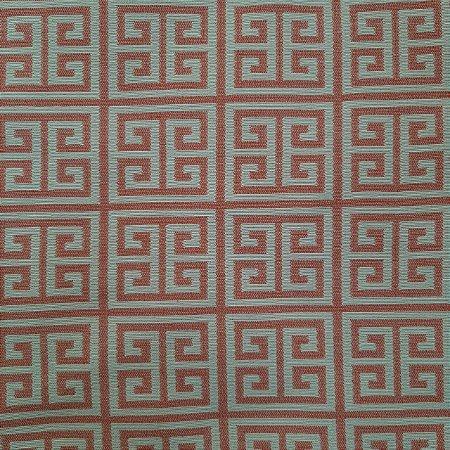 Jacquard Especial Geométrico Goiaba e Branco 2,80mt de Largura