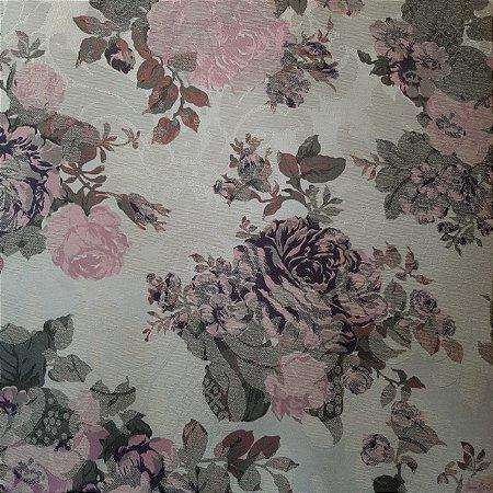 Jacquard Especial Floral Rosa Fundo Branco 2,80mt de Largura