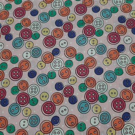 Tricoline Especial Tema Botões Coloridos