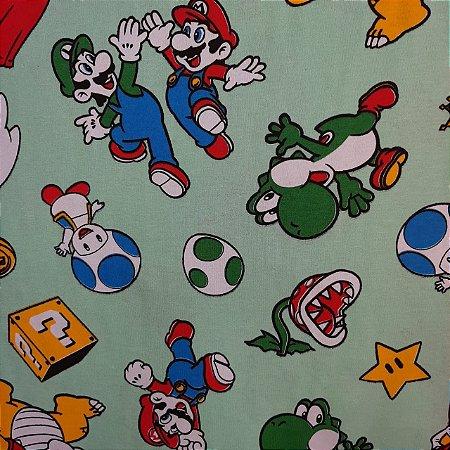 Malha 100% Algodão Cardada Tema Super Mario Bros.