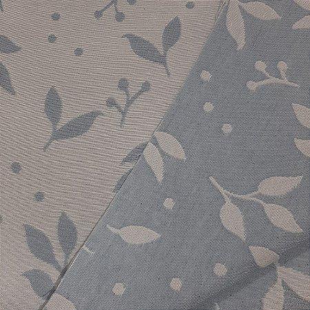 Jacquard Especial Folhas Azul e Branco 2,80mt de Largura