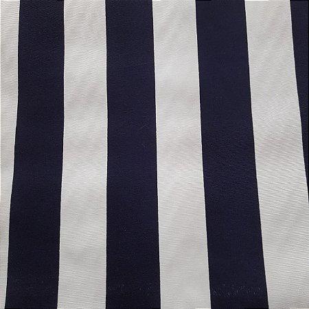 Tecido Verona Listrado Azul Marinho/Branco 1,40mt de largura