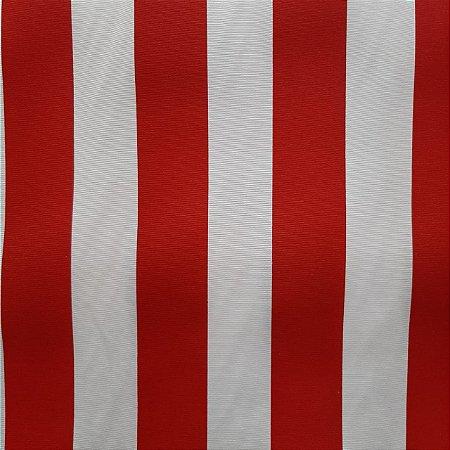 Tecido Verona Listrado Vermelho/Branco 1,40mt de largura