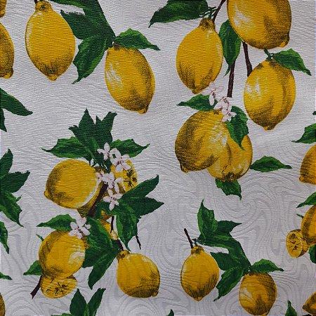 Jacquard Estampado Limão Siciliano Fundo Branco 1,40mt de Largura