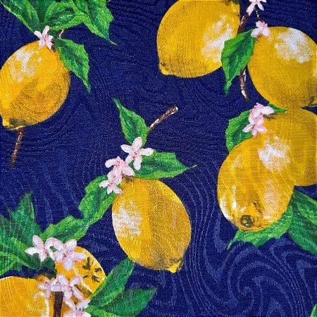 Jacquard Estampado Limão Siciliano Fundo Azul Marinho 1,40mt de Largura