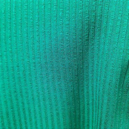 Malha de Viscose Canelada Verde Bandeira 1,30mt de Largura