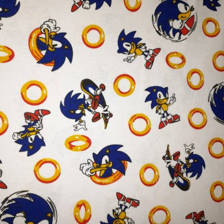 Malha 100% Algodão Cardada Tema Sonic