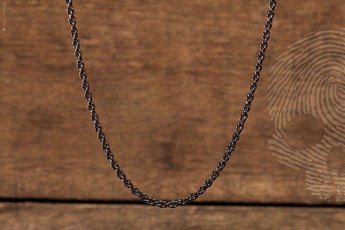 CORRENTE - Estilo corda folheada a Ródio Negro (0,60 cm de comprimento x 0,3 cm expessura)
