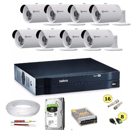 Kit Cftv Dvr Intelbras 8 Canais + HD 1TB + 8 Câmeras Ahd 720p Infravermelho 30 metros + Fonte + Cabo e Conectores