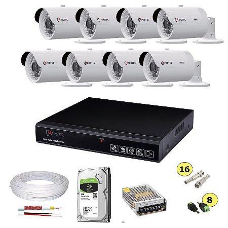 Kit Cftv Dvr JL Protec 8 Canais + HD 1TB + 8 Câmeras Ahd 720p Infravermelho 30 metros + Fonte + Cabo e Conectores