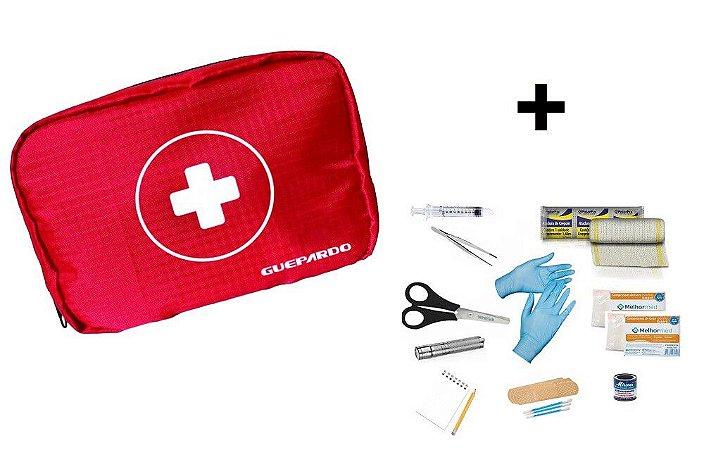 Kit Primeiros Socorros First Aid Estojo Guepardo + Materiais