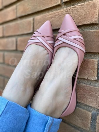 Sapatilha Rosê Tiras Mescla  nude e rosê
