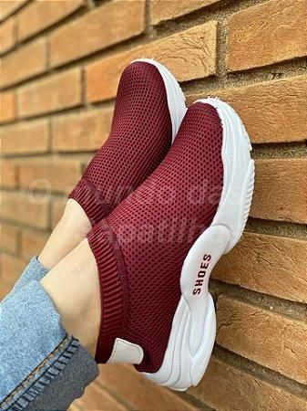 Tênis Meia Shoes Marsala Geométrico