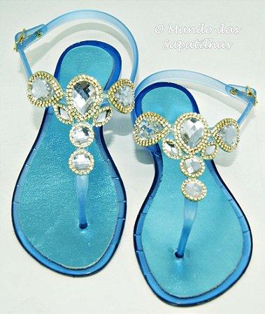 Sandália Rasteira Azul com Pedras
