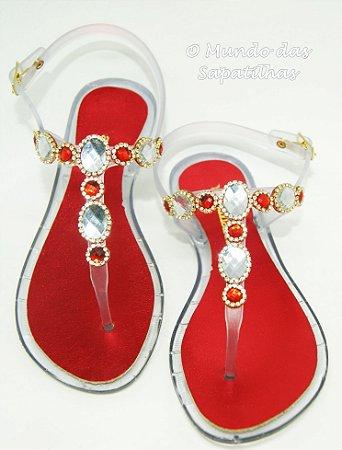 Sandália Rasteira Vermelha e Branca Pedras