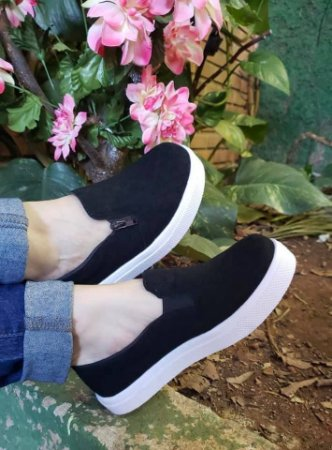 Tênis Slip On Zíper Preto Camburi