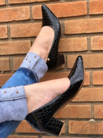Sapato Salto  Croco preto Verniz