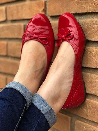 Sapatilha Redonda Vermelha Matelassê