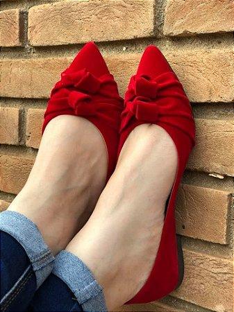 Sapatilha Bico Fino Vermelha Nó Duplo