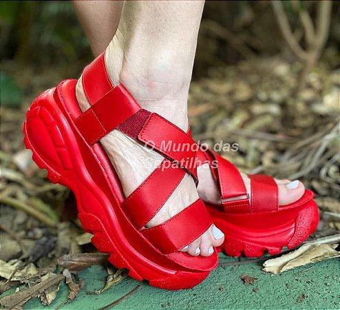 Sandália Papete Chunky Plataforma Vermelha
