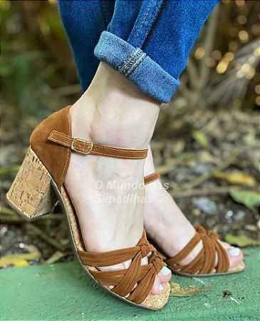 Sandália Salto Caramelo Nó Duplo