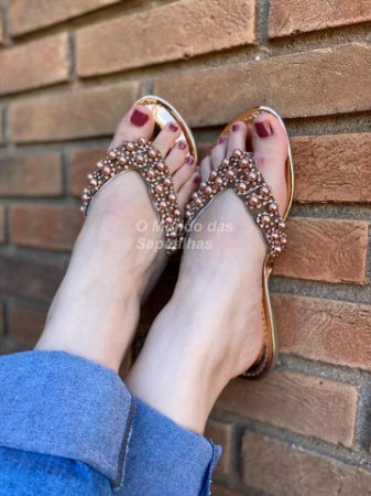 Chinelo Rose Gold Pérola Strass
