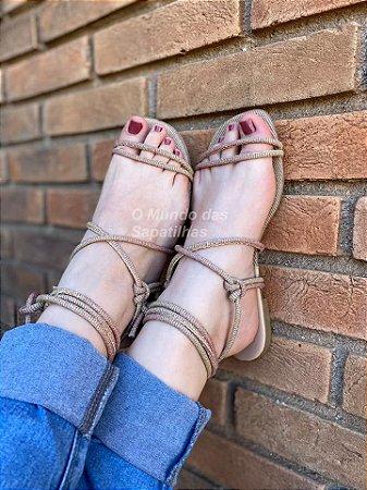 Sandália rasteira Nude Glitter de Amarrar