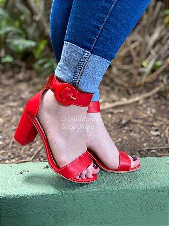 Sandália Vermelha Salto Bloco Vermelha Fivela