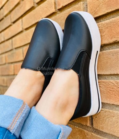 Tênis Slip On Casual Preto Napa