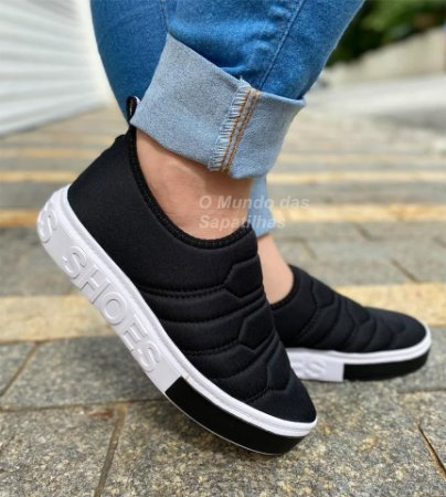 Tênis Meia Shoes Preto Bordado