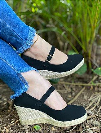 Sapato Anabela Preto Boneca