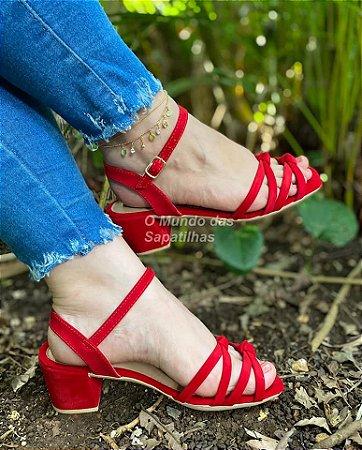 Sandália Confort Salto Bloco Vermelha Nó Duplo
