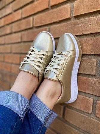 Tênis Cadarço Shoes Dourado