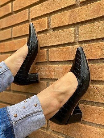 Sapato Scarpin Croco Preto