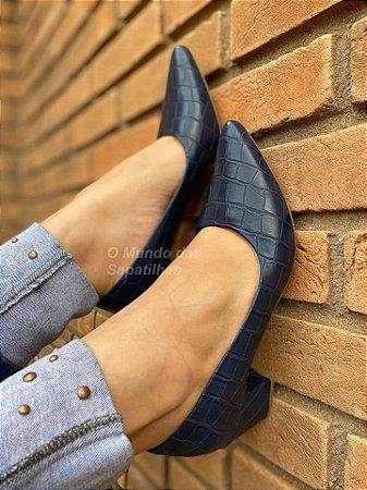 Sapato Scarpin Croco Azul Napa