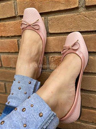 Sapatilha Quadrada Tricê Rosê
